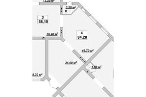 ЖР Княгинин: планировка помощения 84.2 м²