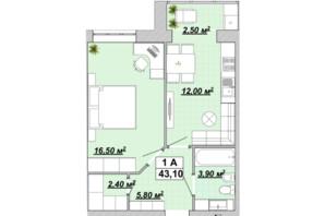 ЖР Княгинин: планировка 1-комнатной квартиры 43.1 м²