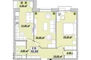 ЖР Княгинин: планировка 2-комнатной квартиры 62.6 м²