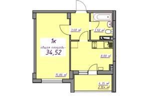 Жилой Массив Седьмое небо: планировка 1-комнатной квартиры 34.77 м²