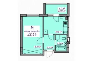 Жилой Массив Седьмое небо: планировка 1-комнатной квартиры 32.64 м²