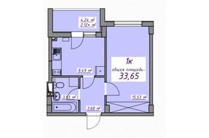 Жилой Массив Седьмое небо: планировка 1-комнатной квартиры 33.65 м²
