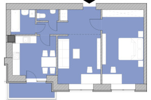 Жилой комплекс Компаньон: планировка 2-комнатной квартиры 66.7 м²