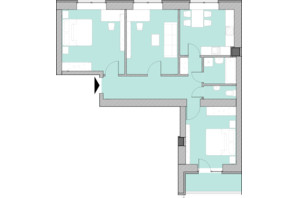 Жилой комплекс Компаньон: планировка 3-комнатной квартиры 75.6 м²