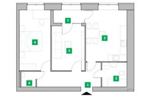 Жилой комплекс Компаньон: планировка 2-комнатной квартиры 63.97 м²