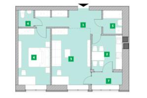 Жилой комплекс Компаньон: планировка 2-комнатной квартиры 64 м²