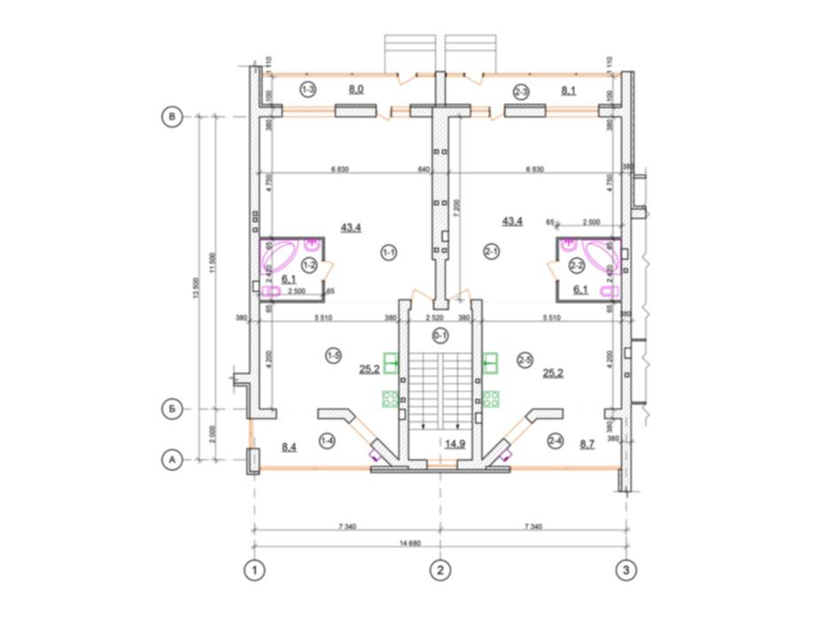 Планировка 2-комнатной квартиры в КГ проул. Пугачёва/ул. Д. Галицкого 90 м², фото 100450