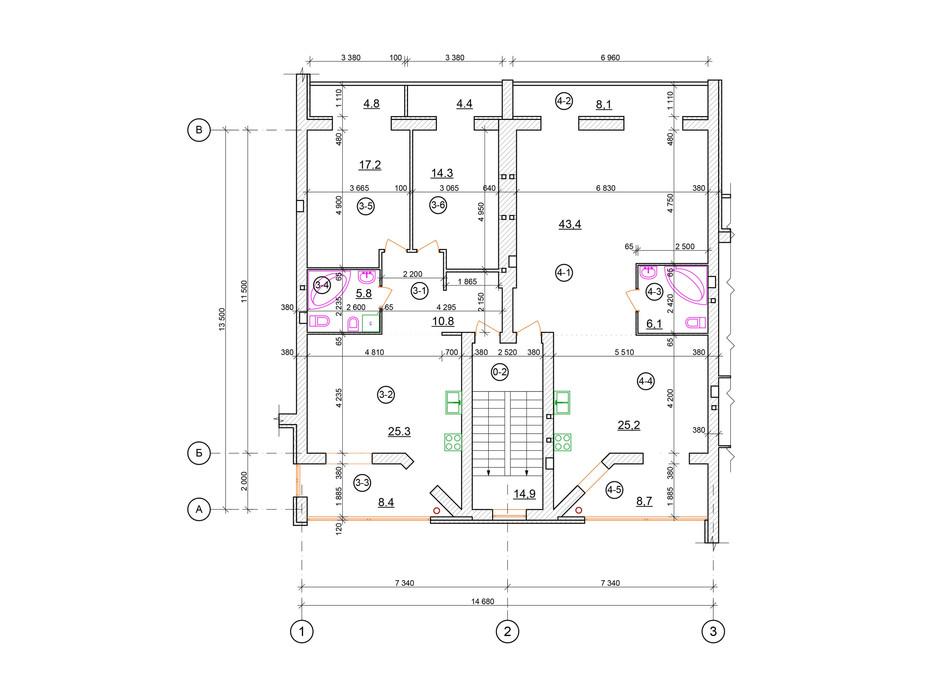 Планировка 2-комнатной квартиры в КГ проул. Пугачёва/ул. Д. Галицкого 90 м², фото 100451