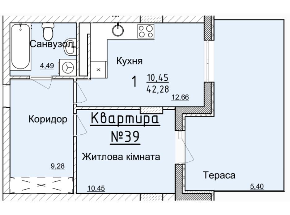 Планировка 1-комнатной квартиры в ЖК Globus Elite 38.6 м², фото 100742