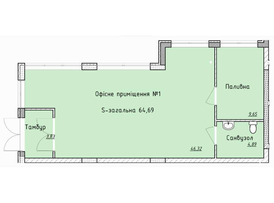 Планировка помещения в ЖК Globus Elite 63.2 м², фото 100746