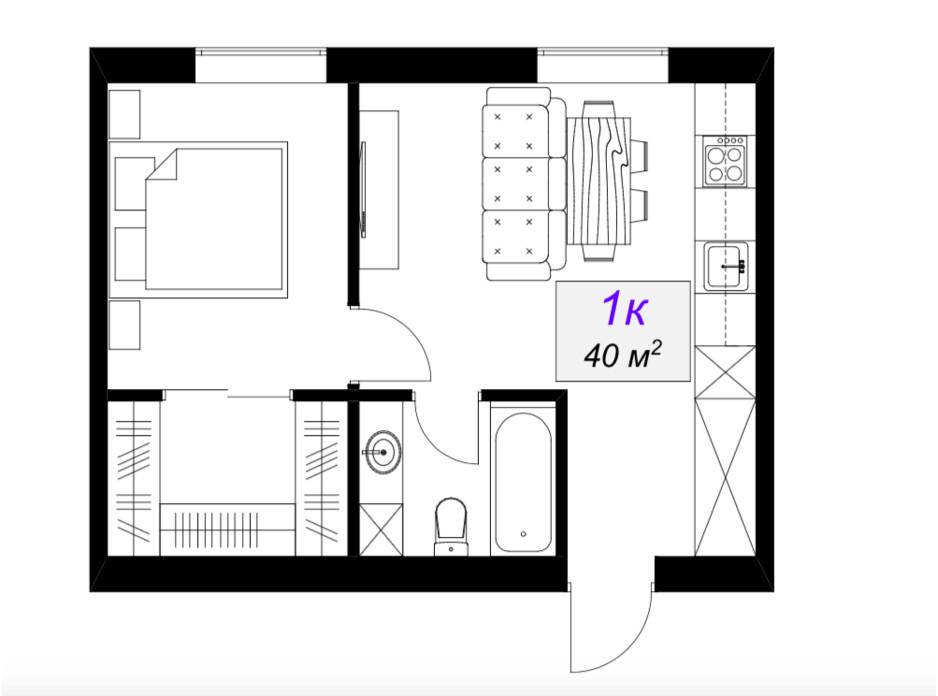 Планировка 1-комнатной квартиры в ЖК Слобожанский 40 м², фото 101882