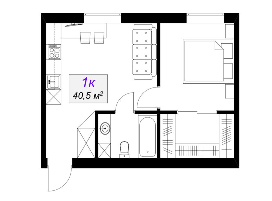 Планировка 1-комнатной квартиры в ЖК Слобожанский 40.5 м², фото 101884