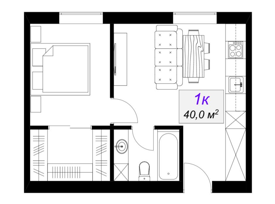 Планировка 1-комнатной квартиры в ЖК Слобожанский 40 м², фото 101889