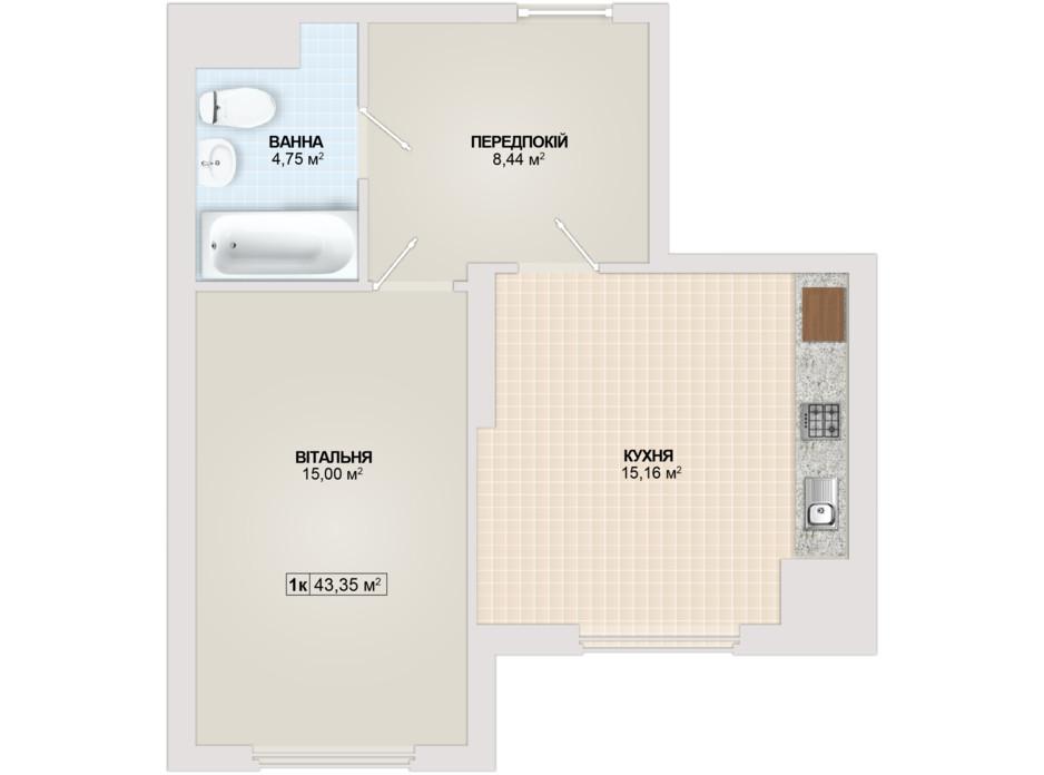 Планировка 1-комнатной квартиры в ЖК Sonata 43.35 м², фото 102173
