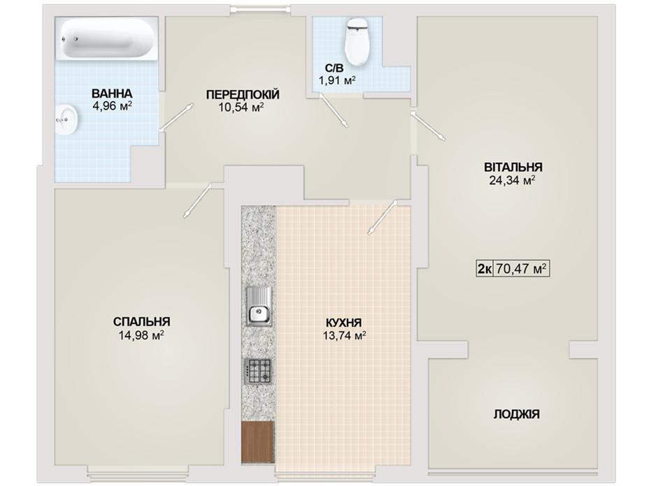 Планировка 2-комнатной квартиры в ЖК Sonata 70.47 м², фото 102175