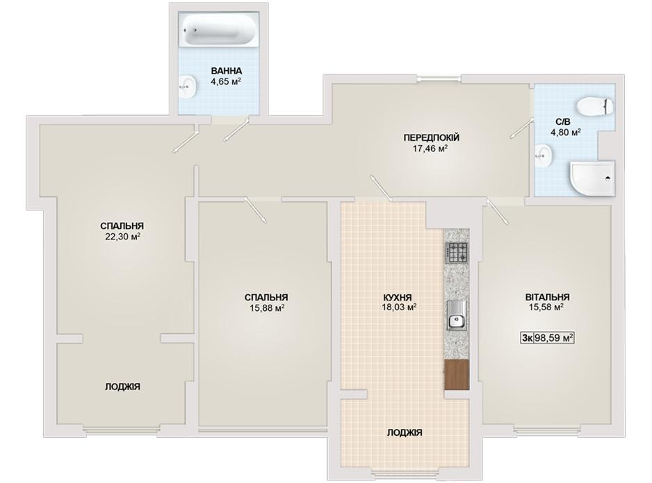 Планировка 3-комнатной квартиры в ЖК Sonata 98.59 м², фото 102176