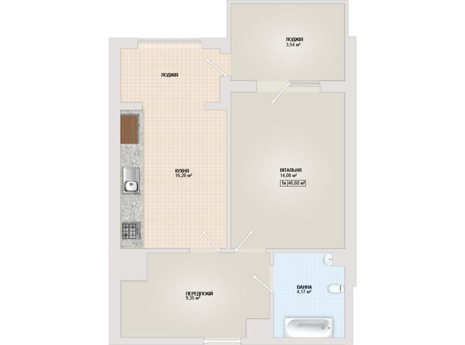Планування 1-кімнатної квартири в ЖК Sonata 46.6 м², фото 102177