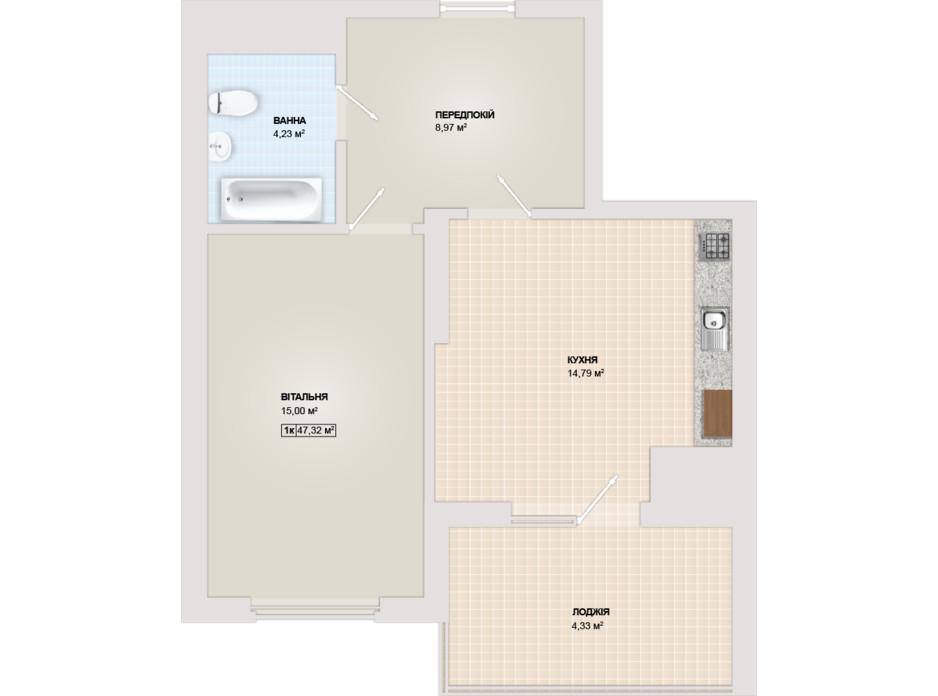 Планировка 1-комнатной квартиры в ЖК Sonata 47.32 м², фото 102178
