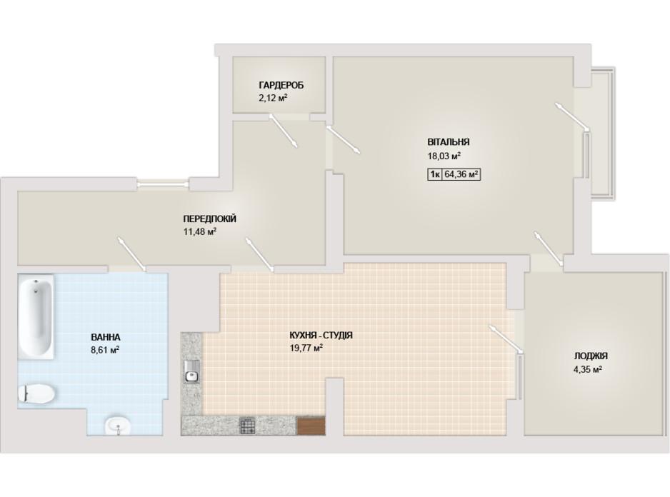 Планировка 1-комнатной квартиры в ЖК Sonata 64.36 м², фото 102180