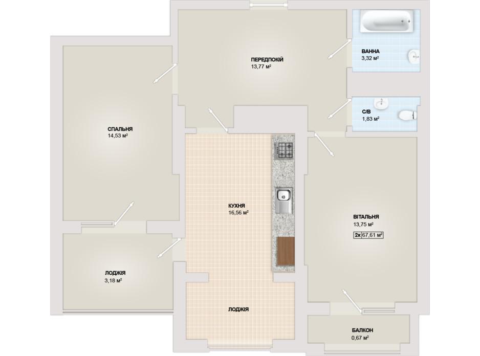 Планировка 2-комнатной квартиры в ЖК Sonata 67.61 м², фото 102182