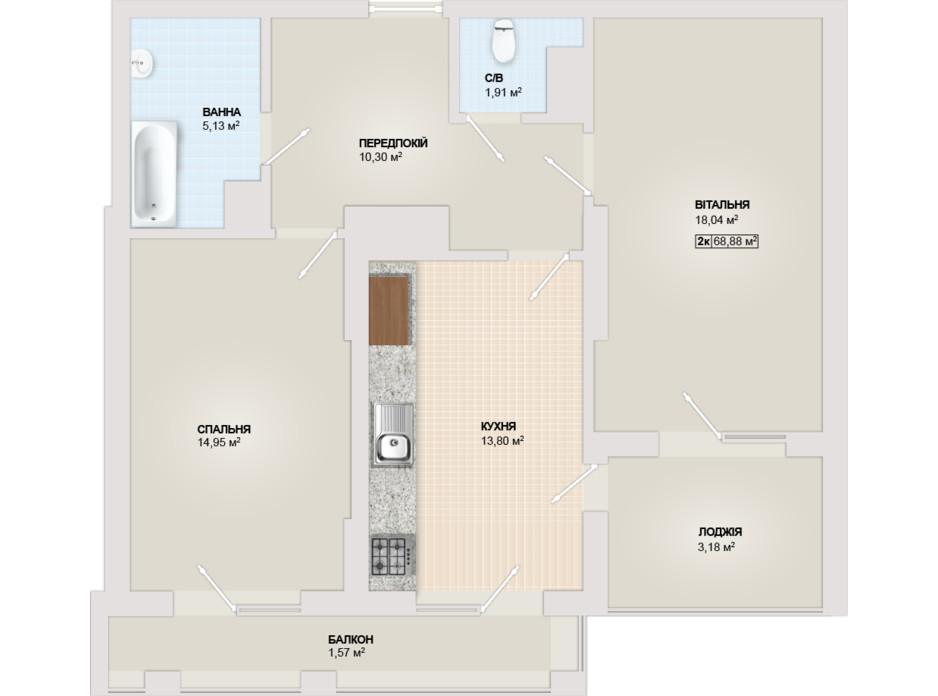 Планировка 2-комнатной квартиры в ЖК Sonata 68.88 м², фото 102185