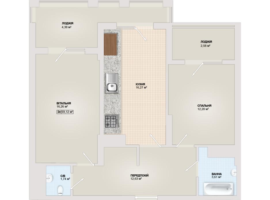 Планировка 2-комнатной квартиры в ЖК Sonata 69.12 м², фото 102186