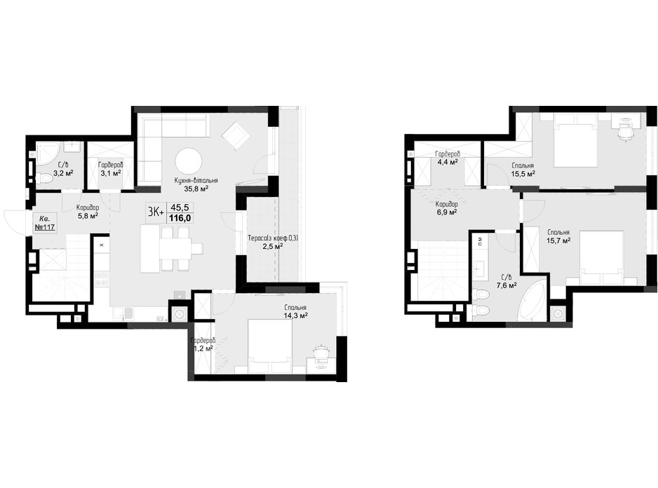 ЖК Auroom City планировка 54