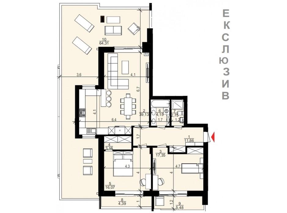 Планування 3-кімнатної квартири в ЖК Хвиля LUX 95.37 м², фото 103578