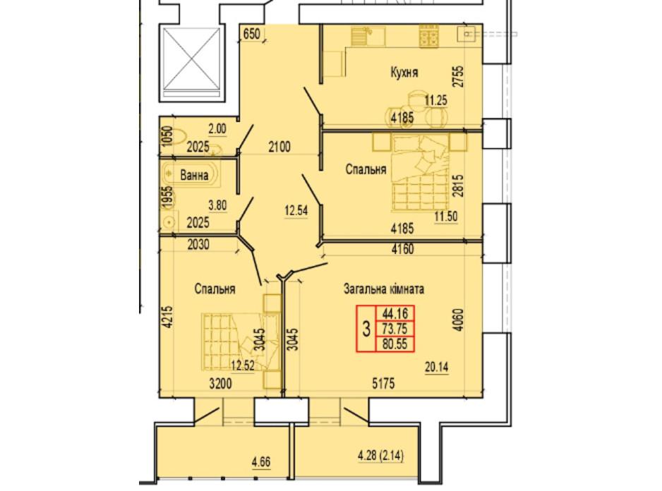 Планування 3-кімнатної квартири в ЖК по вул. Харьківська, 37 80.55 м², фото 103890