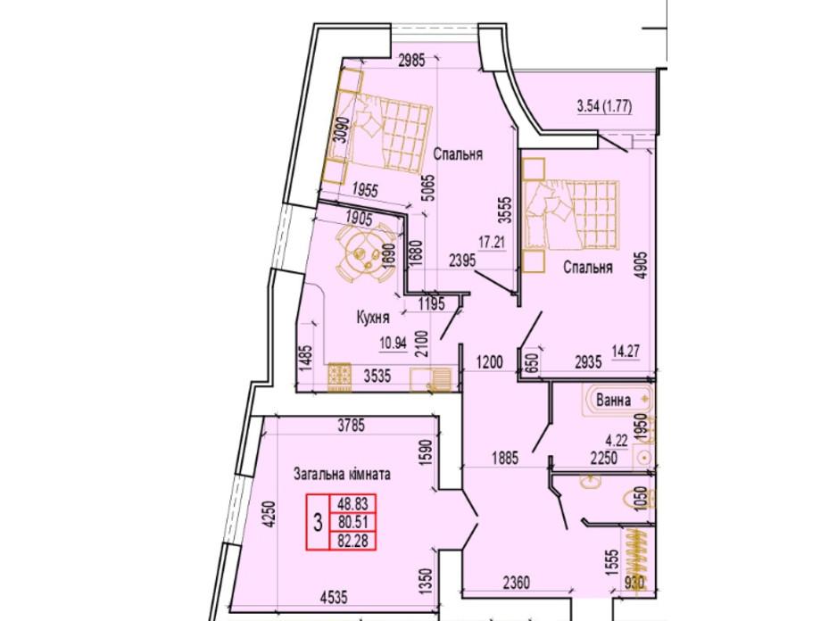 Планировка 3-комнатной квартиры в ЖК по ул. Харьковская, 37 82.28 м², фото 103891