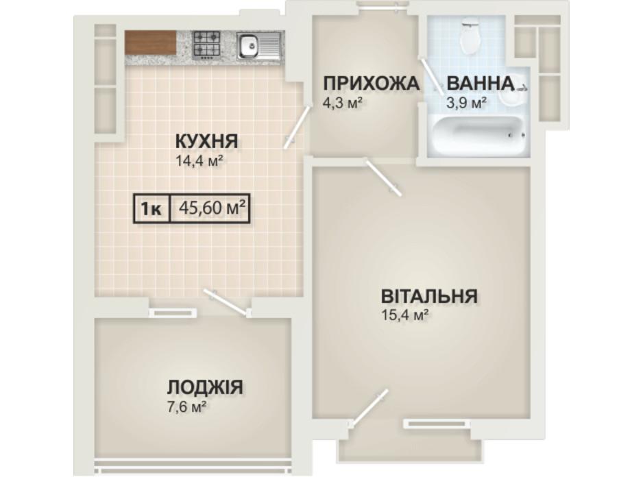 Планировка 1-комнатной квартиры в ЖК HydroPark DeLuxe (Гидропарк Делюкс) 45.6 м², фото 104091