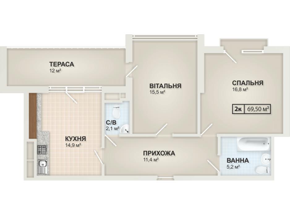 Планировка 2-комнатной квартиры в ЖК HydroPark DeLuxe 69.5 м², фото 104094