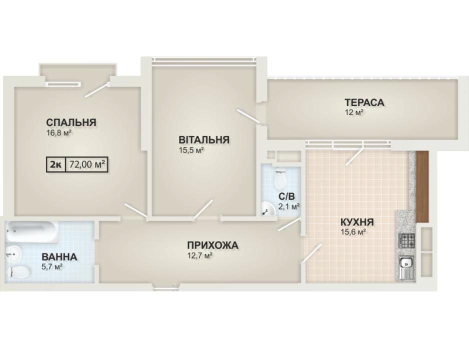 Планування 2-кімнатної квартири в ЖК HydroPark DeLuxe 72 м², фото 104095