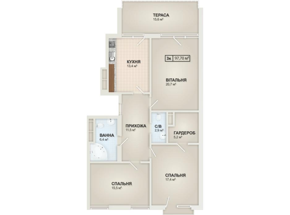 Планировка 3-комнатной квартиры в ЖК HydroPark DeLuxe (Гидропарк Делюкс) 97.7 м², фото 104096