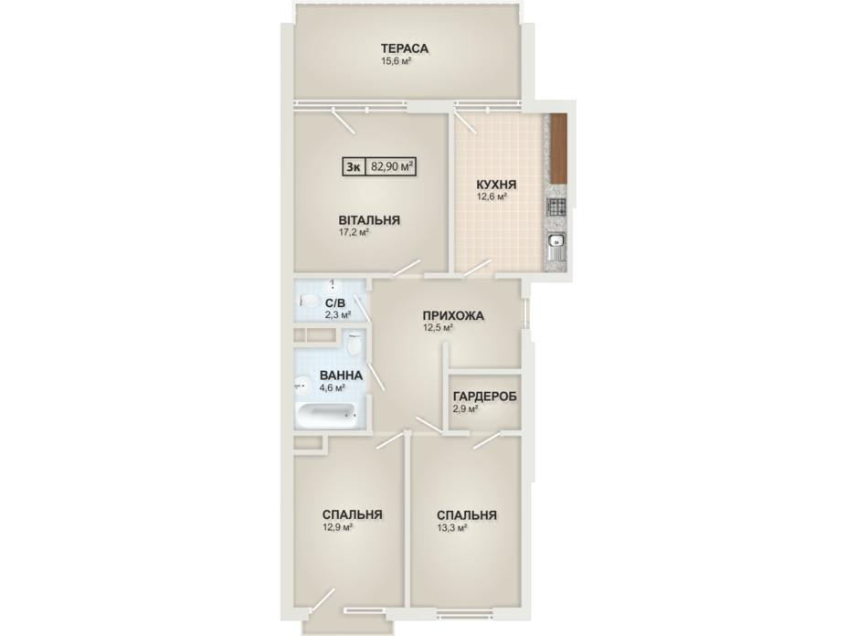 Планировка 3-комнатной квартиры в ЖК HydroPark DeLuxe (Гидропарк Делюкс) 82.9 м², фото 104098
