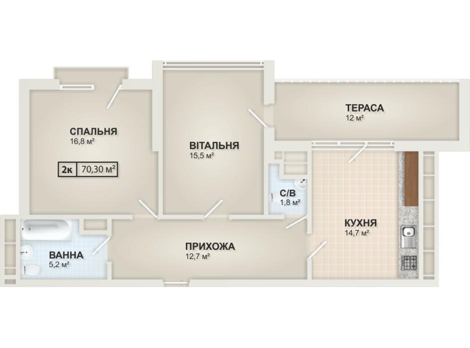 Планировка 2-комнатной квартиры в ЖК HydroPark DeLuxe 70.3 м², фото 104101