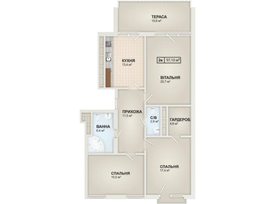 Планування 2-кімнатної квартири в ЖК HydroPark DeLuxe 97.1 м², фото 104103