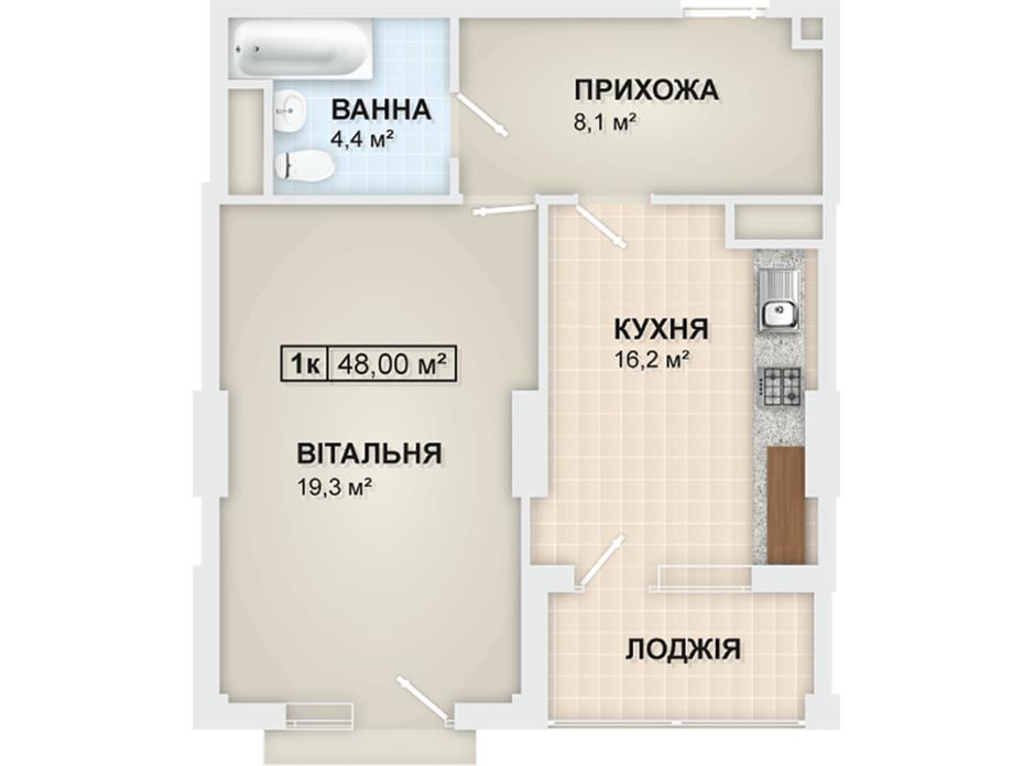 Планировка 1-комнатной квартиры в ЖК Lystopad 48 м², фото 104164