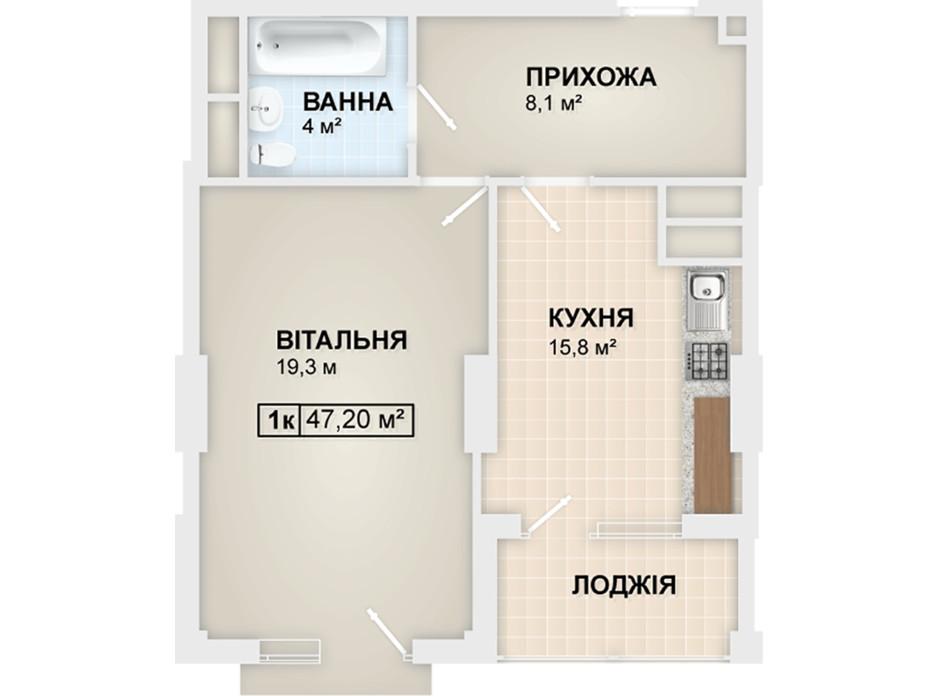 Планування 1-кімнатної квартири в ЖК Lystopad 47.2 м², фото 104165