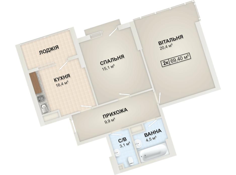 Планировка 2-комнатной квартиры в ЖК Lystopad 69.4 м², фото 104170