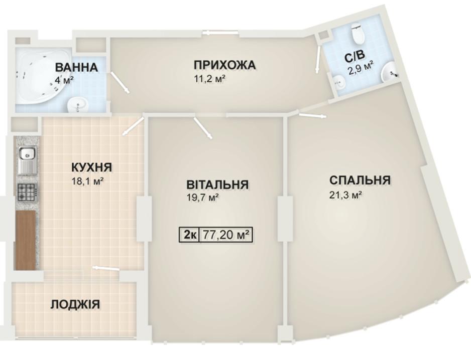 Планировка 2-комнатной квартиры в ЖК Lystopad 77.2 м², фото 104171