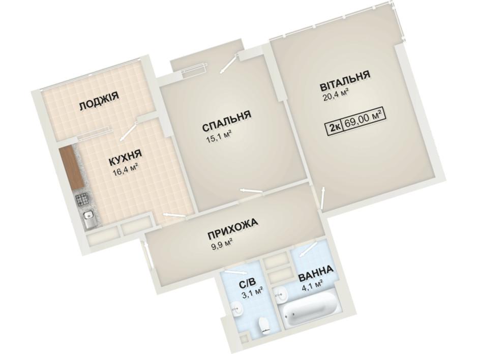 Планування 2-кімнатної квартири в ЖК Lystopad 69 м², фото 104172