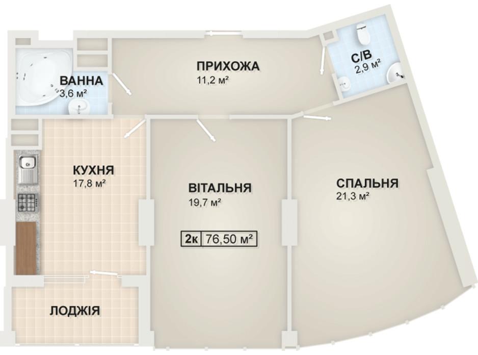 Планировка 2-комнатной квартиры в ЖК Lystopad 76.5 м², фото 104174