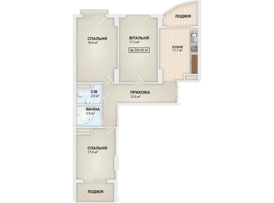 Планировка 3-комнатной квартиры в ЖК Lystopad 90.5 м², фото 104175