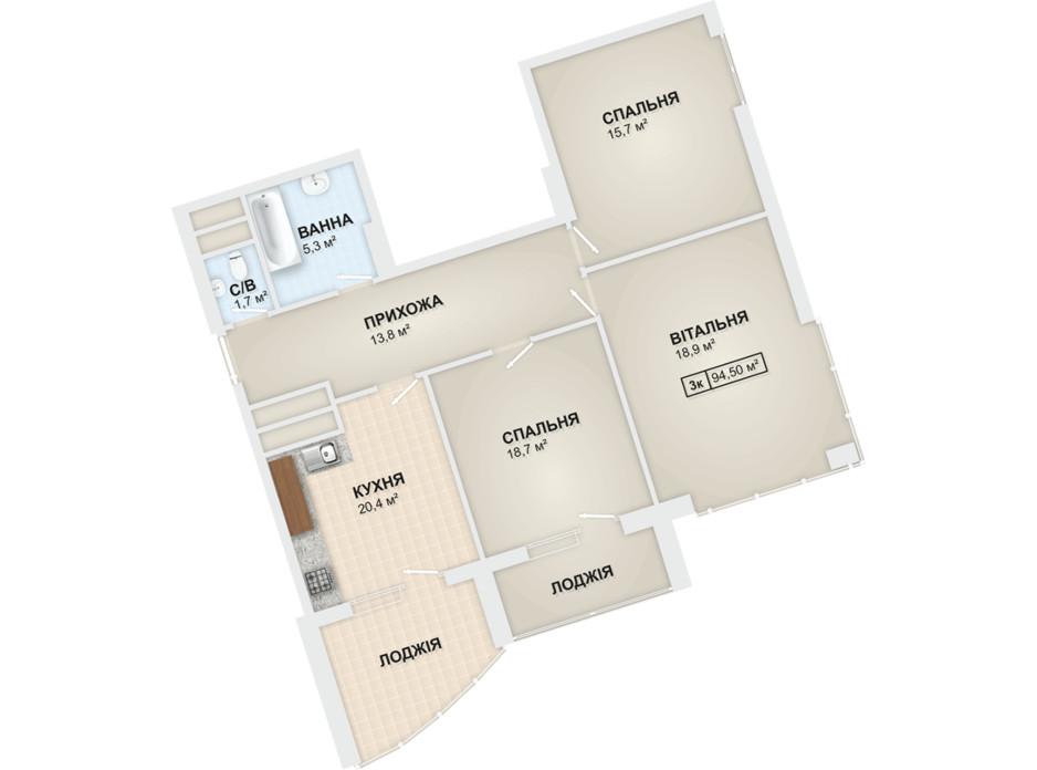 Планировка 3-комнатной квартиры в ЖК Lystopad 94.5 м², фото 104178