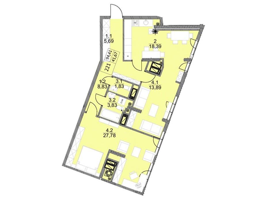 Планировка 2-комнатной квартиры в ЖК Яркий Львов 94.3 м², фото 105996