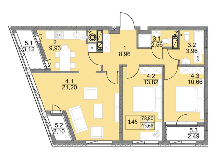 Планировка 3-комнатной квартиры в ЖК Яркий Львов 79.9 м², фото 105997
