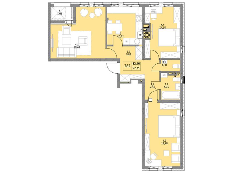 Планировка 2-комнатной квартиры в ЖК Яркий Львов 84.5 м², фото 105998