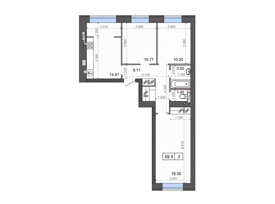 Планировка 3-комнатной квартиры в ЖК Новые Метры PARK 69.5 м², фото 106503