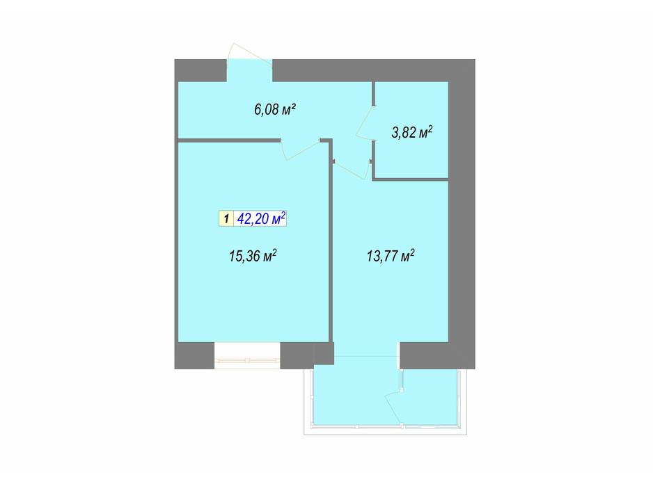 Планування 1-кімнатної квартири в ЖК Кудрянка 42.2 м², фото 107659